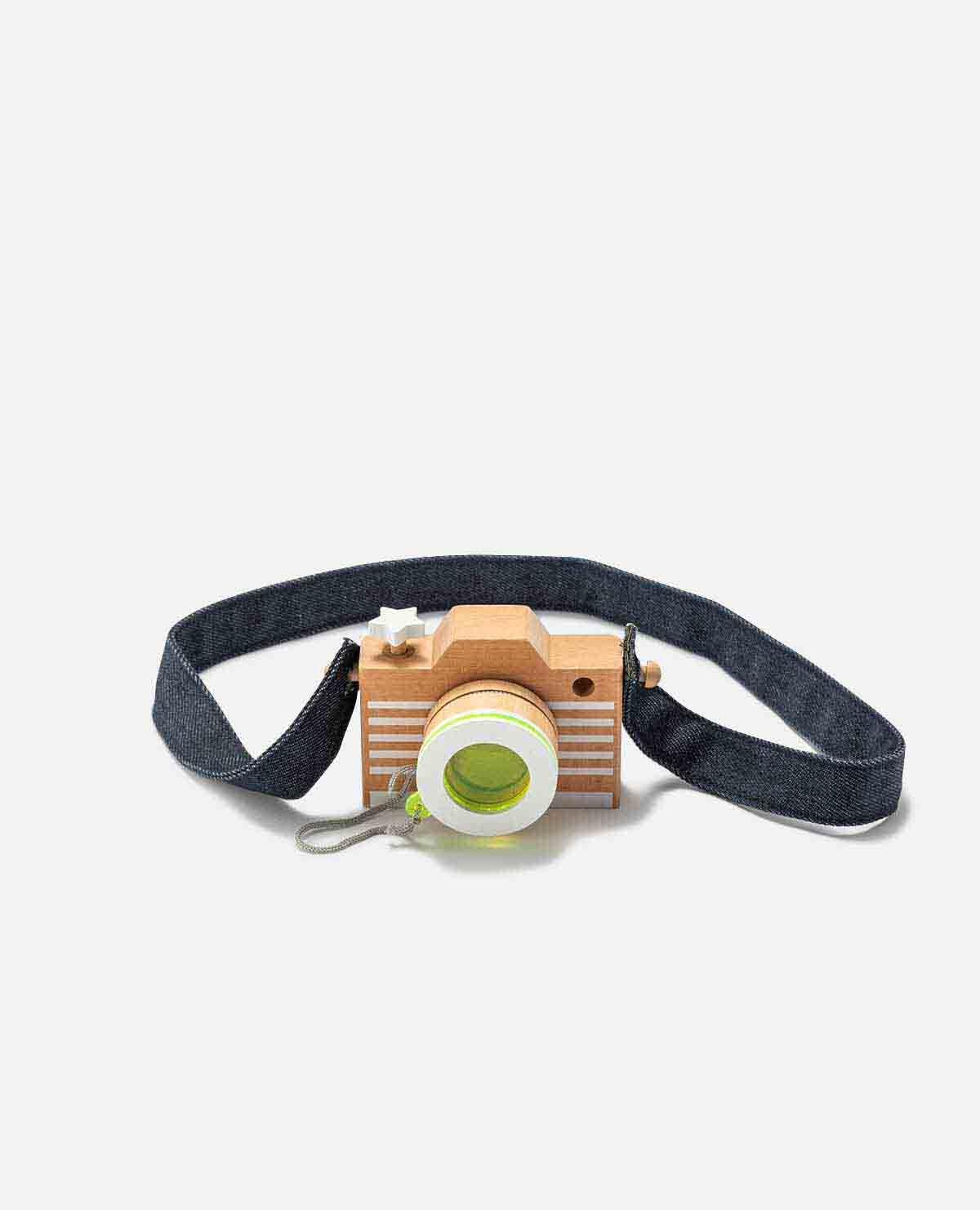 カメラ おもちゃ 玩具 木製 レトロ イエロー