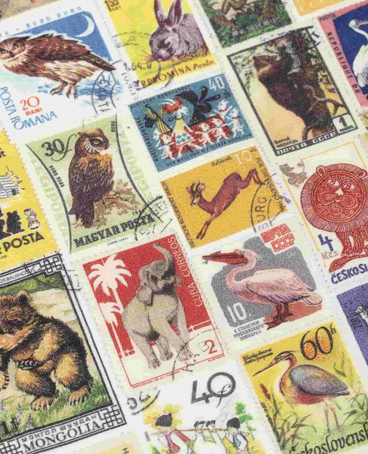 ハンカチ 動物 切手 アサノスタンプ
