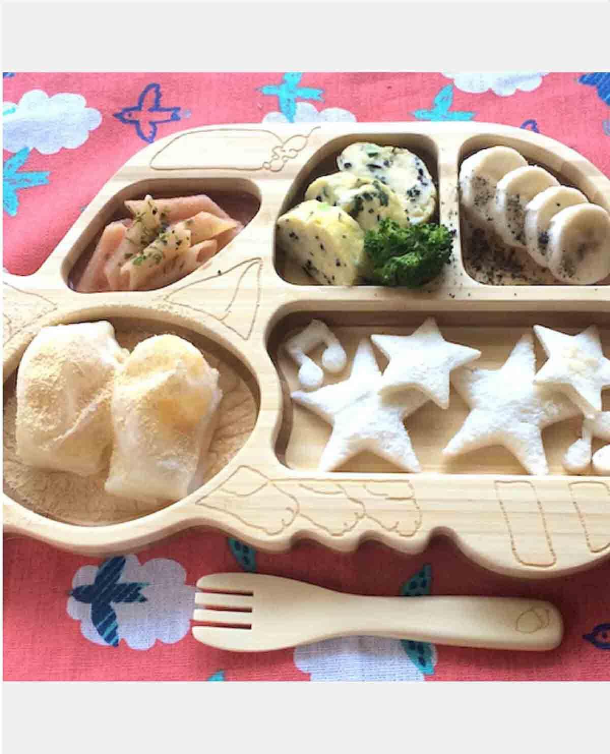 ねこバス プレート セット ベビー食器 木製 竹