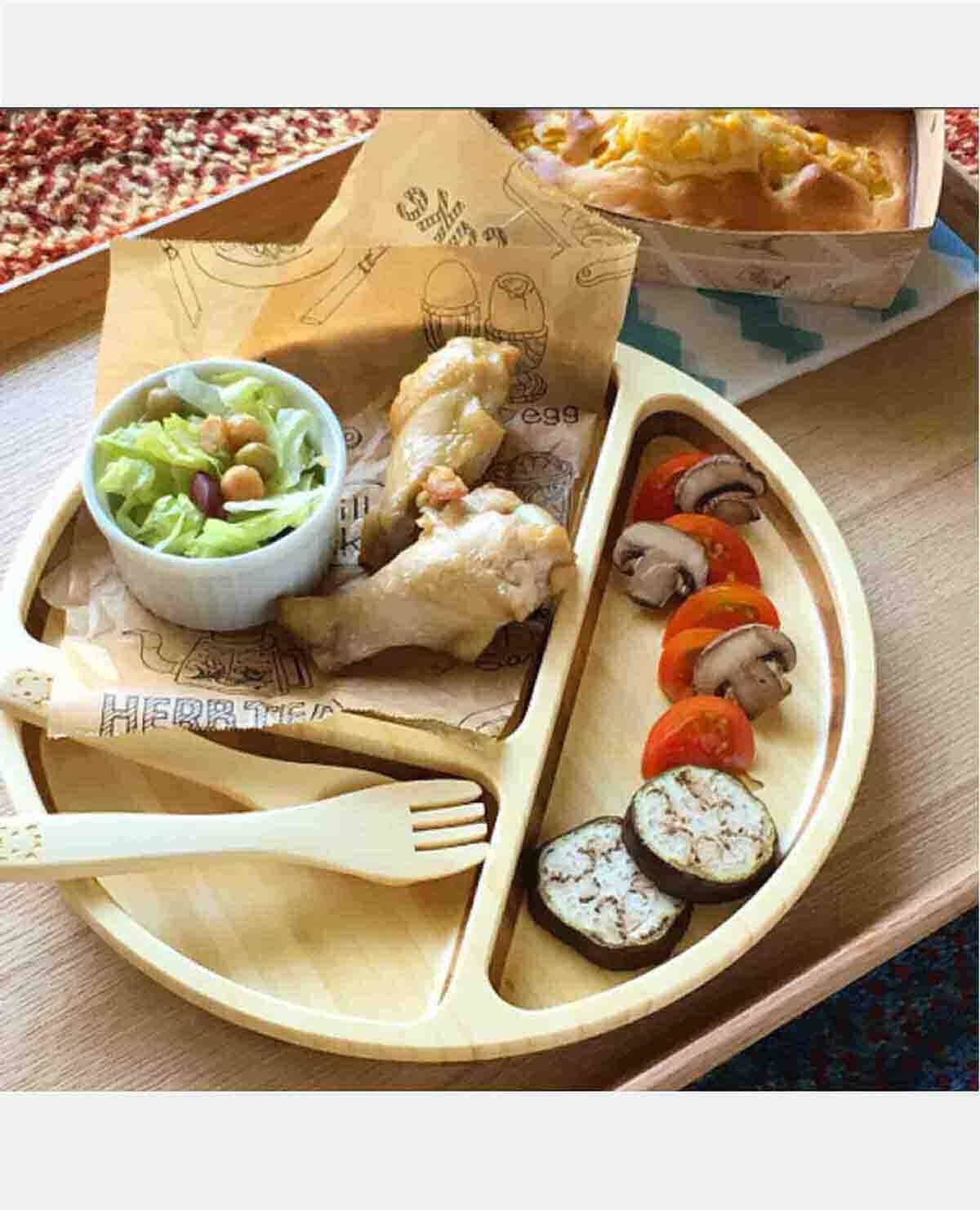 キリン ソフィー プレート セット ベビー食器 木製 竹