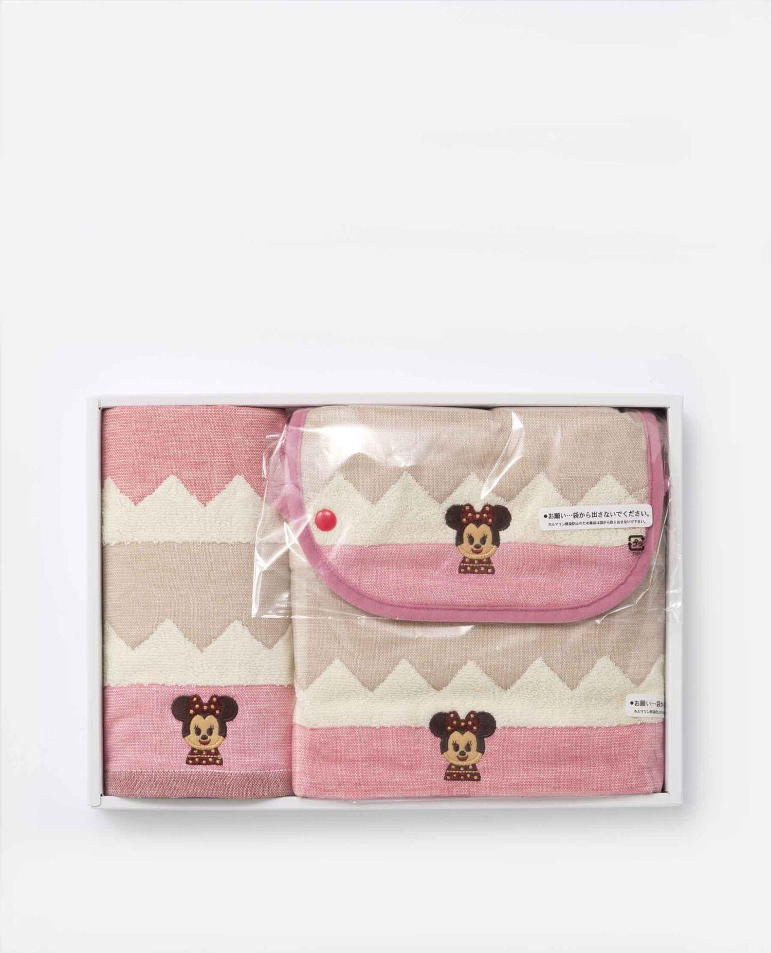ZIGUZAGU タオルセット(フェイスタオル・スタイ・巾着) ミニーマウス