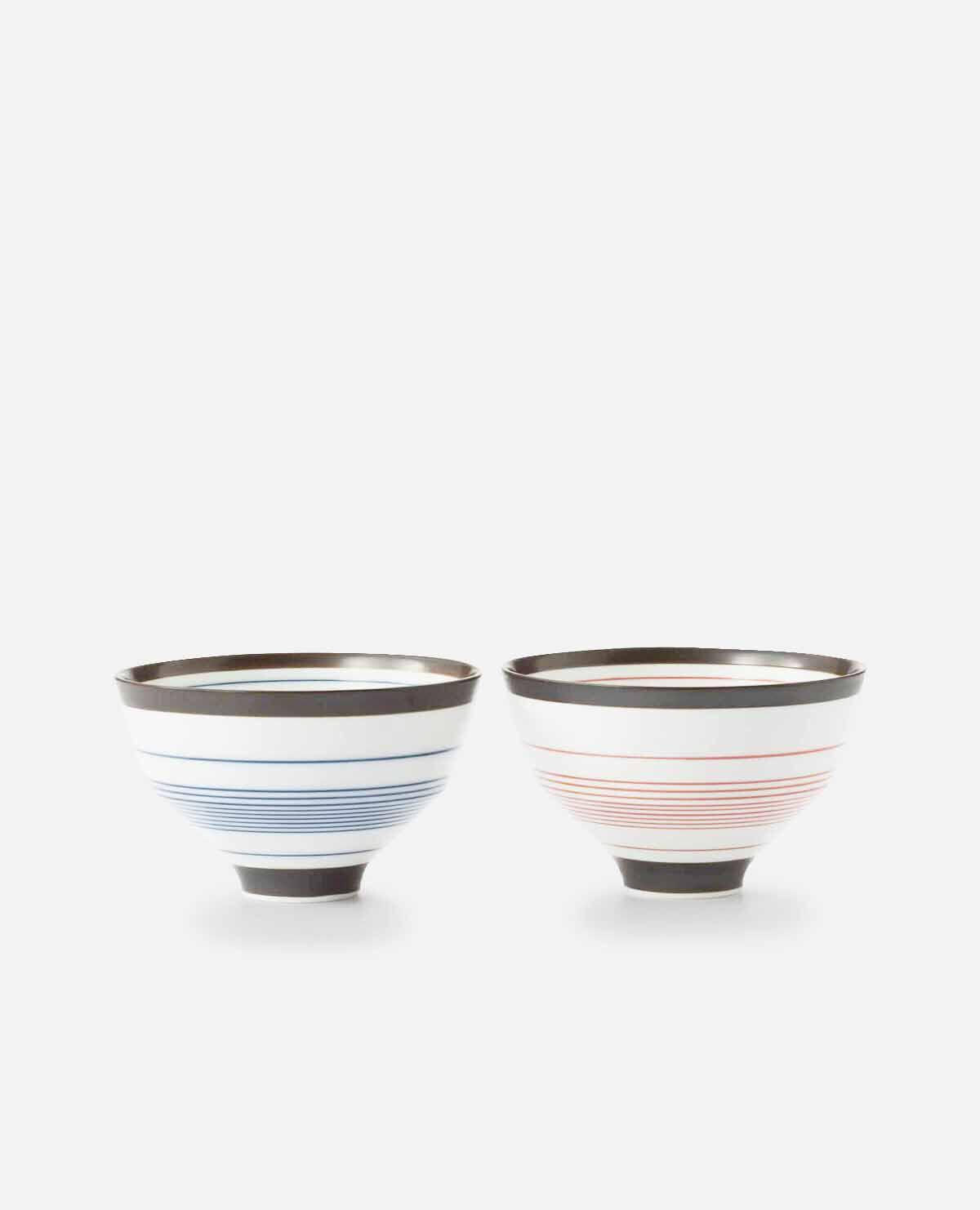 段付飯碗2個セット 呉須錆線紋(茶碗)