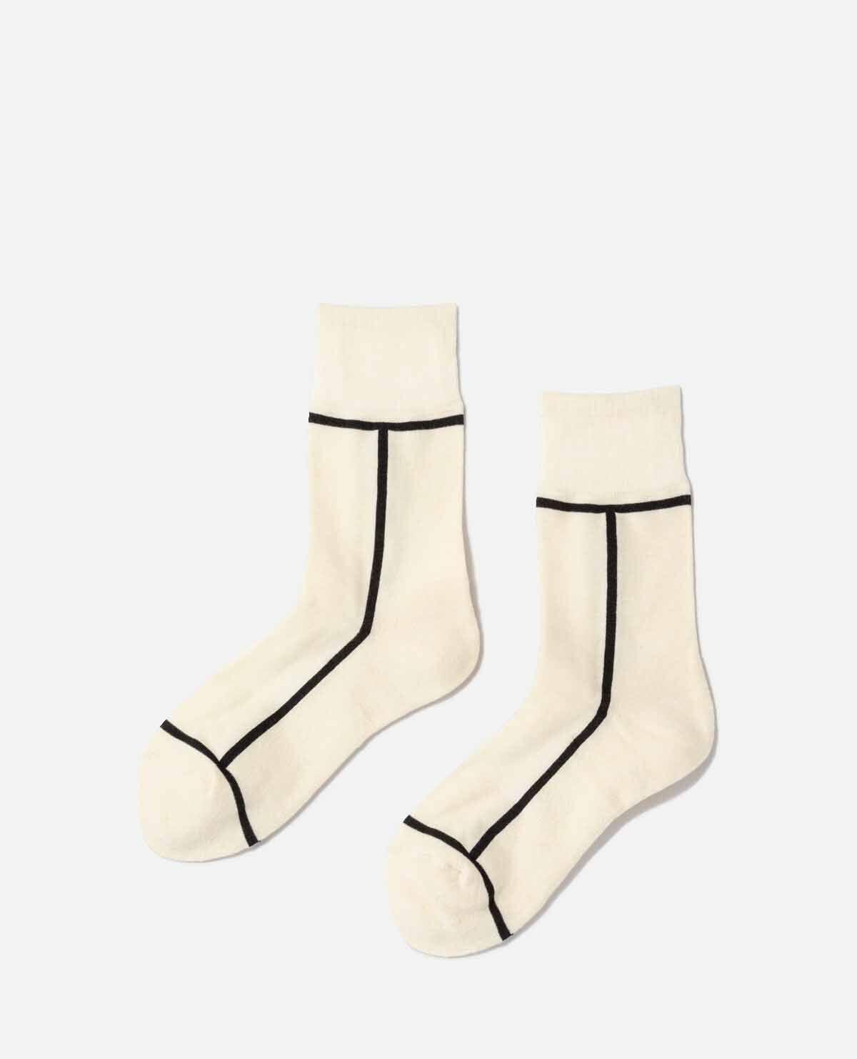 靴下 アイボリー ダークブラウン 2足セット