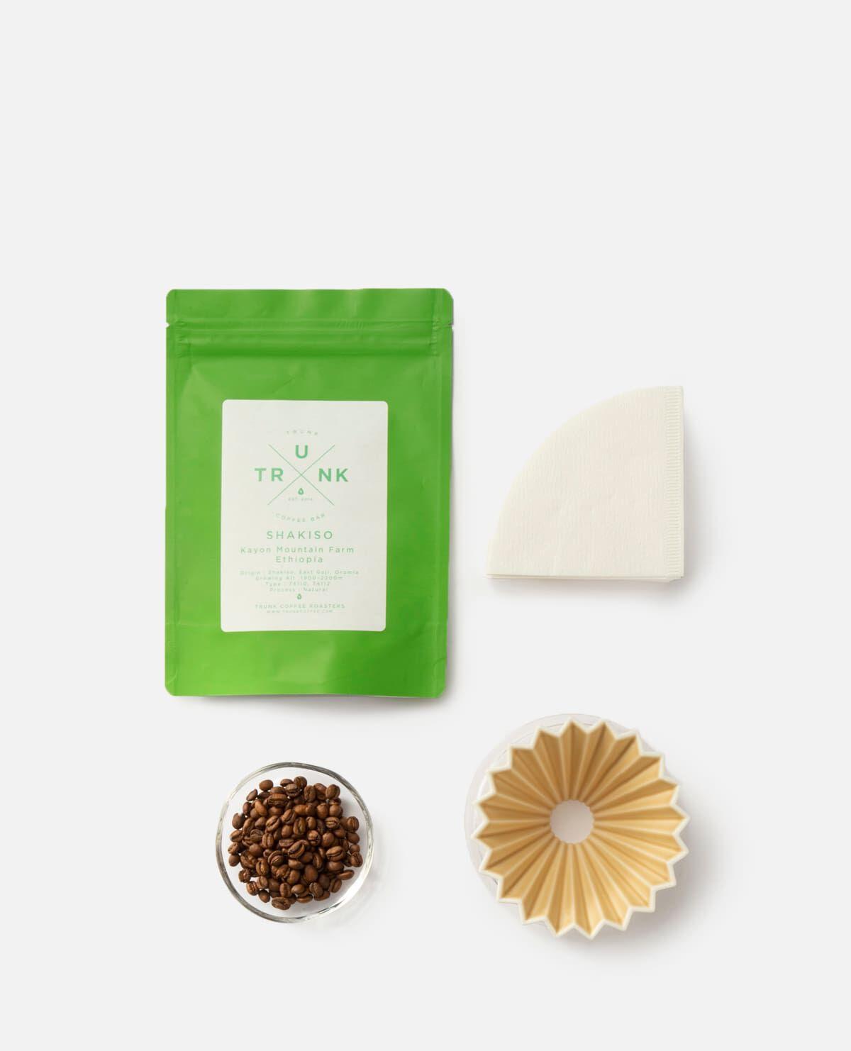 コーヒー豆&ORIGAMI ドリッパーセット マットベージュ