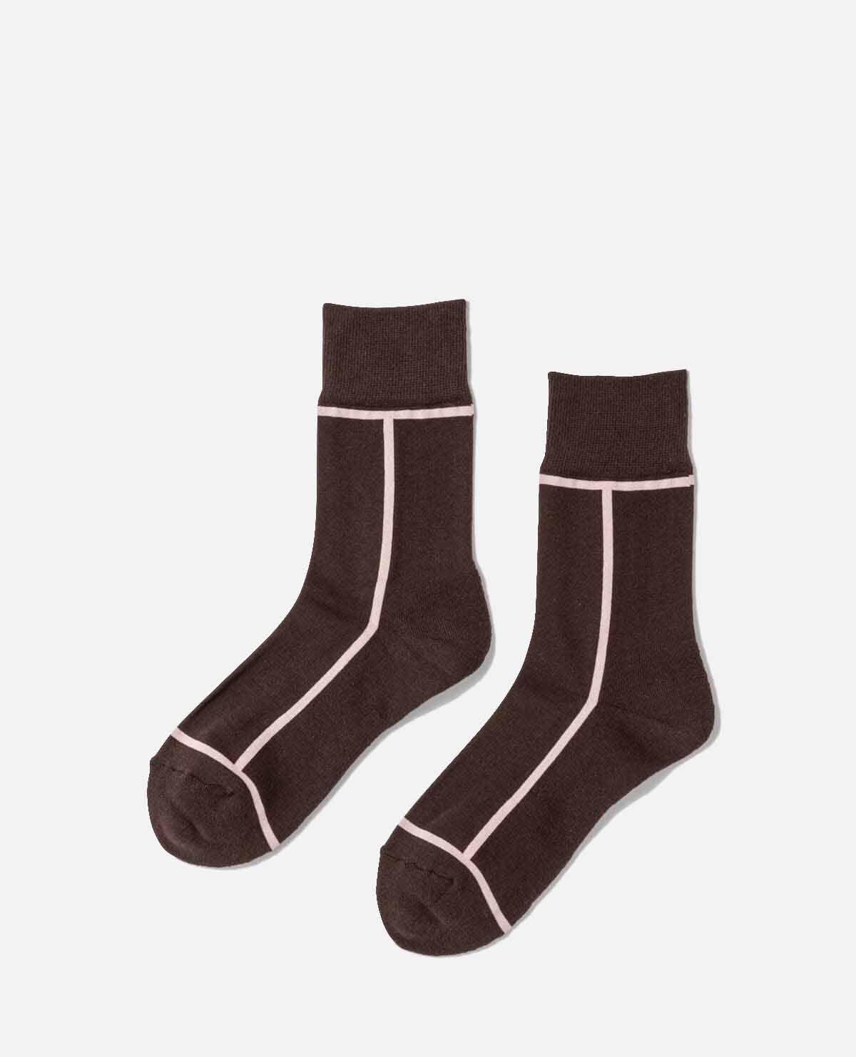 靴下 ダークブラウン オールドローズ 単品