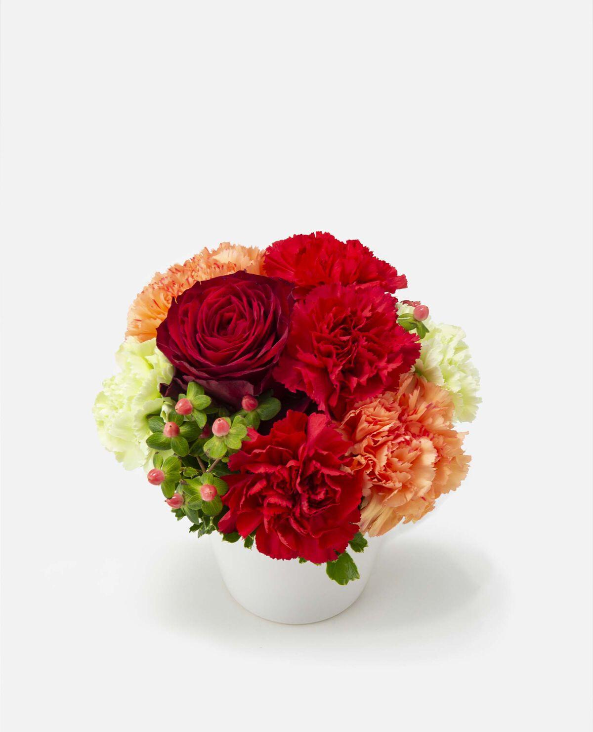 【5/6~9お届け予定】ムードマークオリジナル カーネーションのフラワーアレンジメント 赤(母の日)