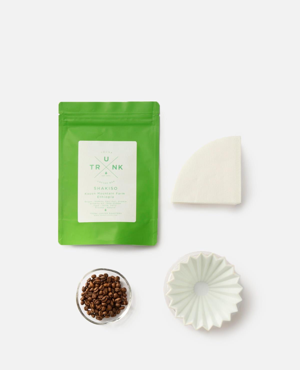 コーヒー豆&ORIGAMI ドリッパーセット ホワイト