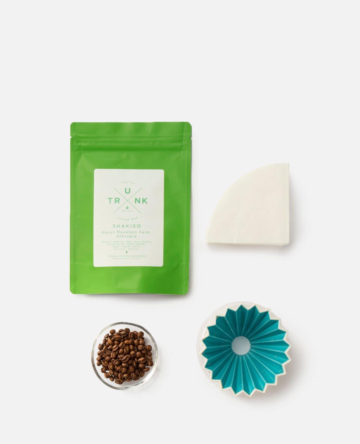 コーヒー豆&ORIGAMI ドリッパーセット ターコイズ