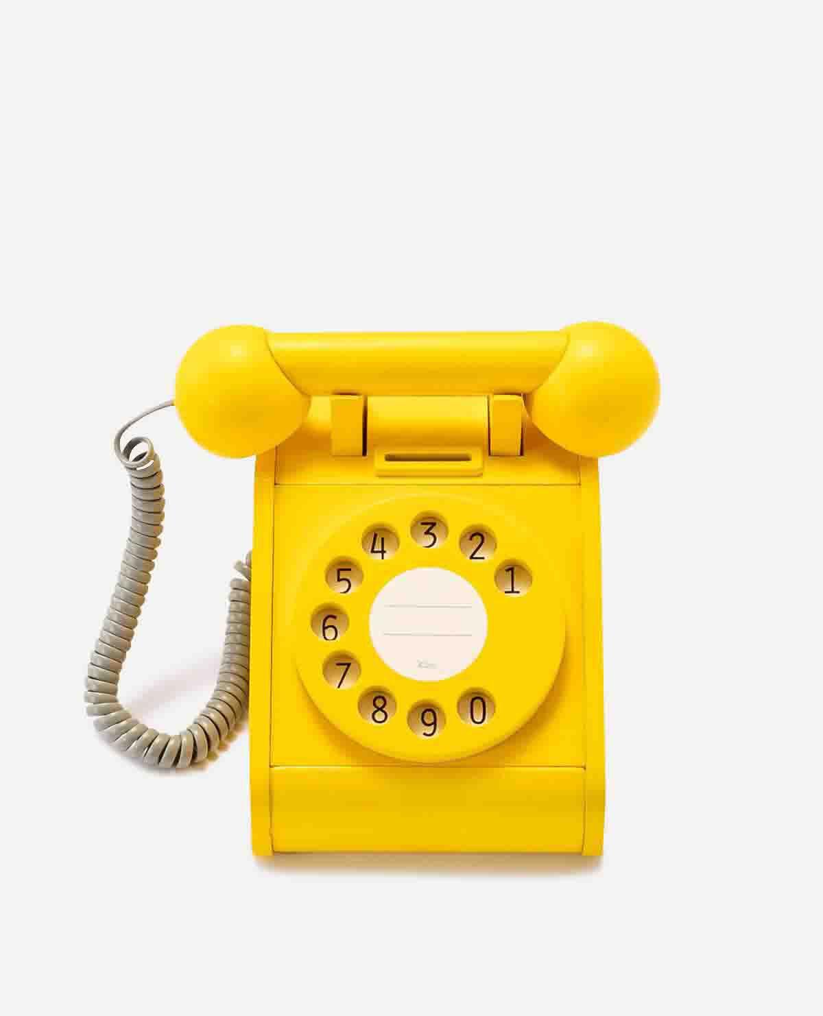 テレフォン 電話 おもちゃ 玩具 木製 イエロー
