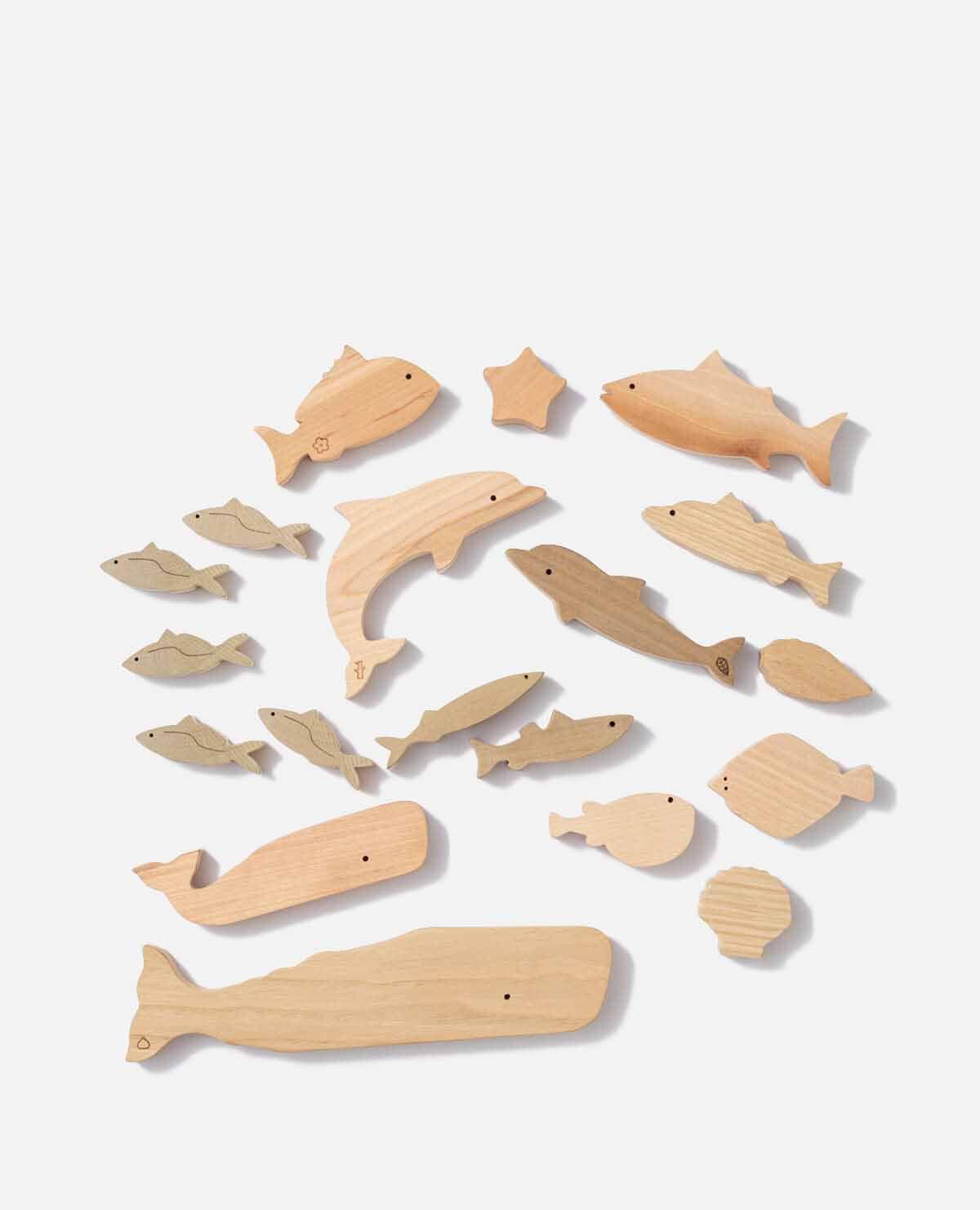 海 どうぶつ 動物 つみき 積み木 木製