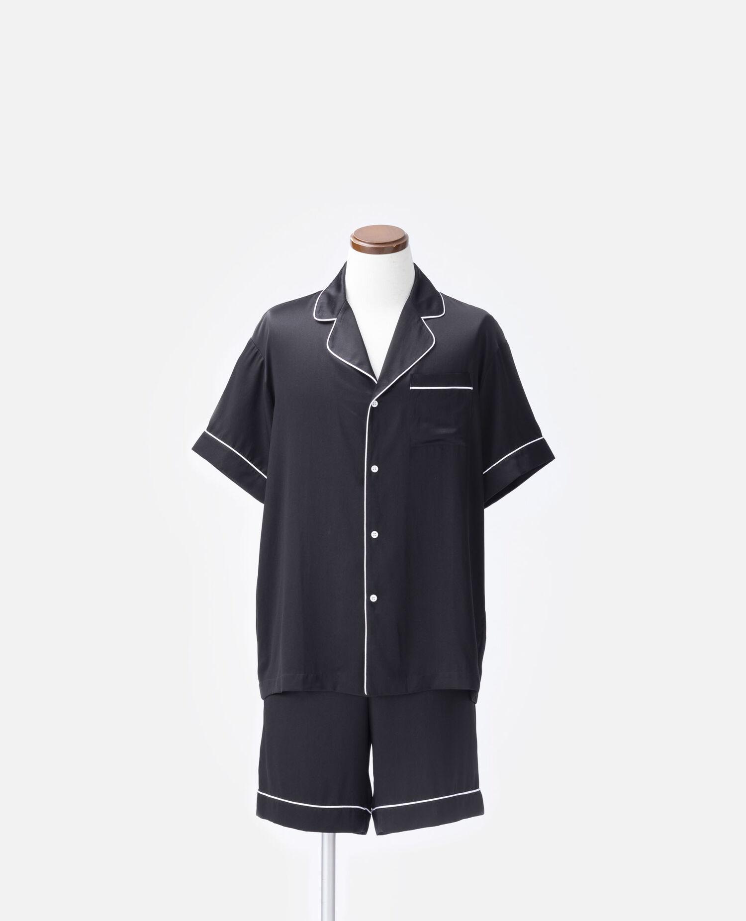 メンズシルクパジャマ 半袖トップス&ハーフパンツ