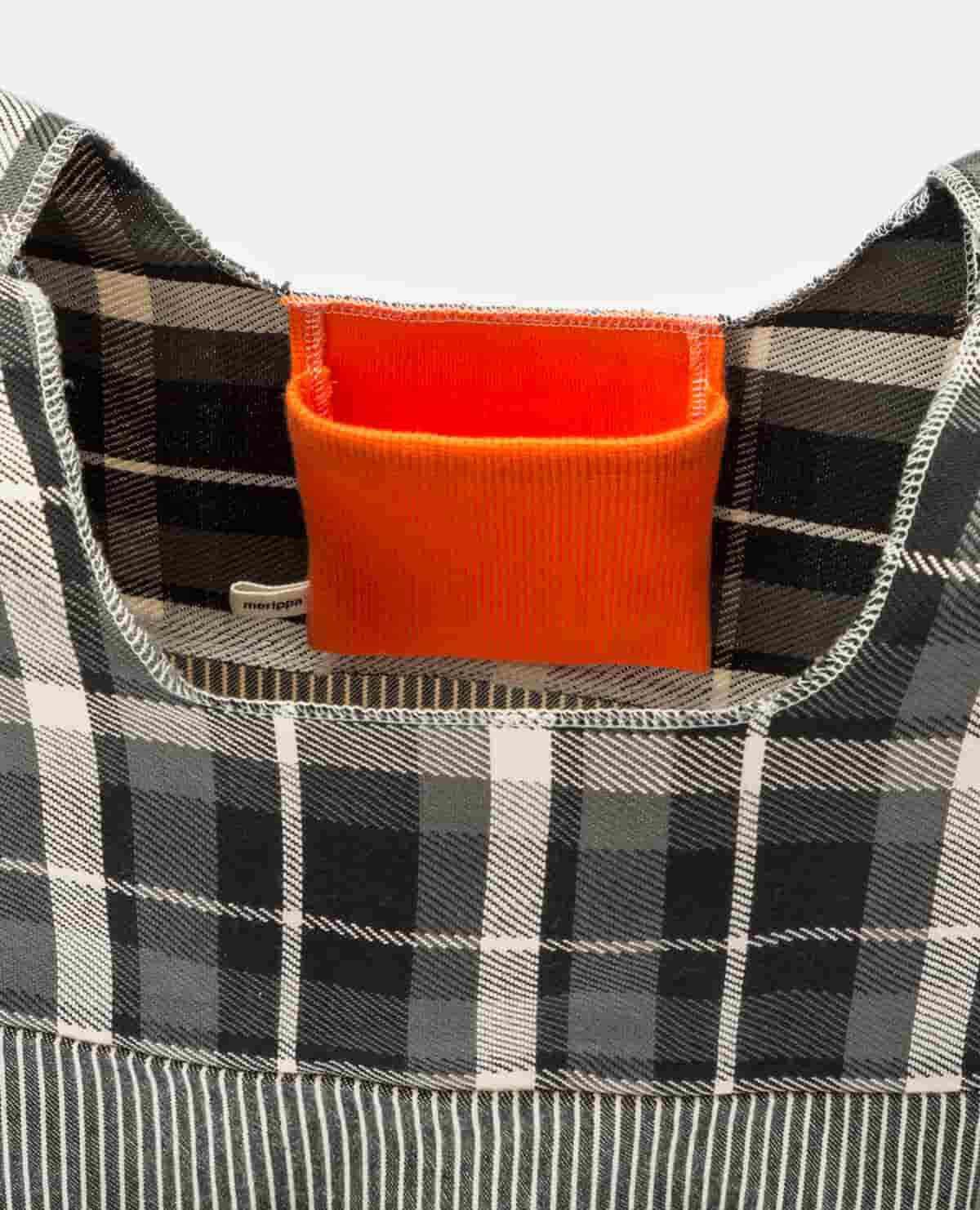 エコバッグ グレー チェック オレンジ ショッピングバッグ