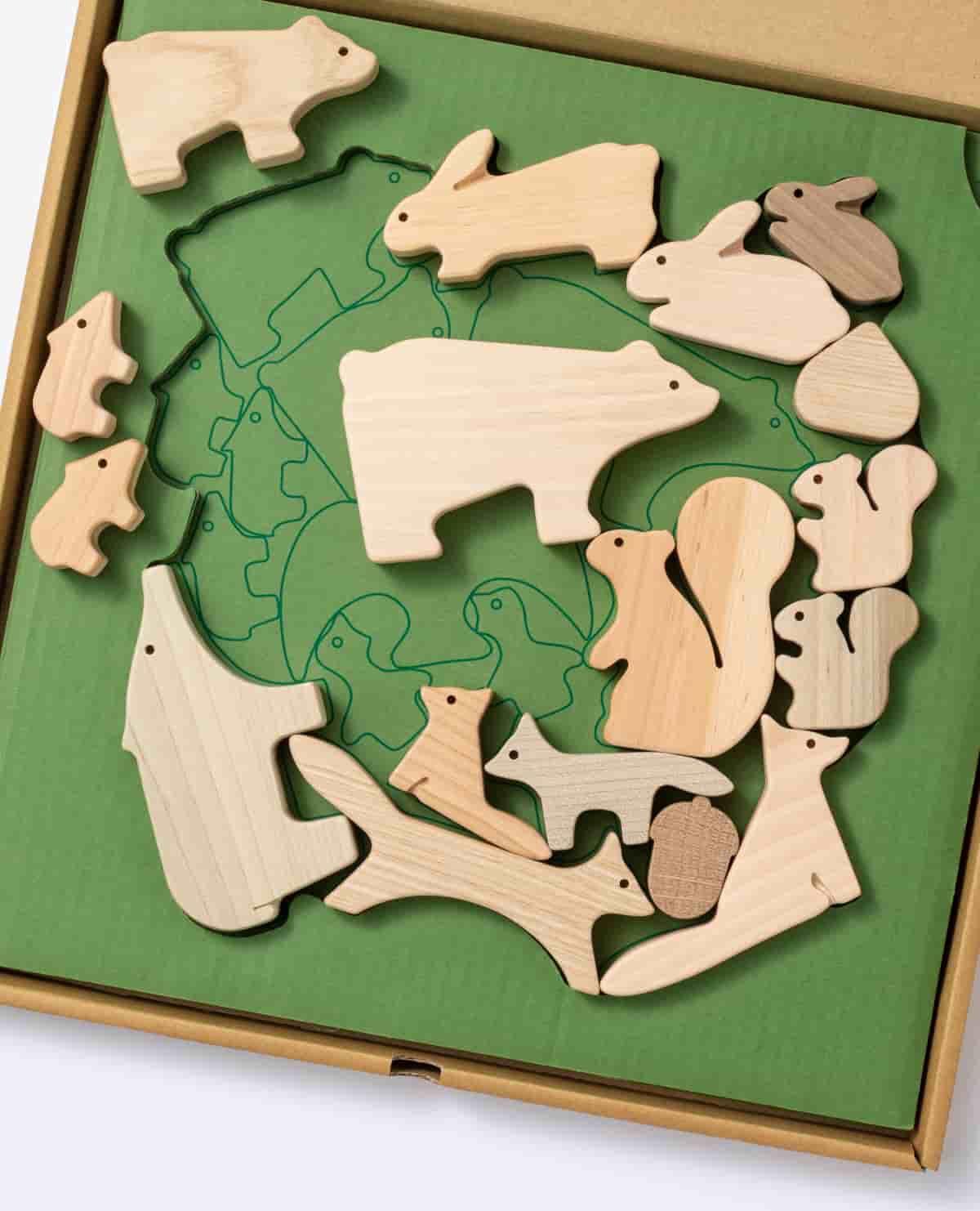 森 どうぶつ 動物 つみき 積み木 木製