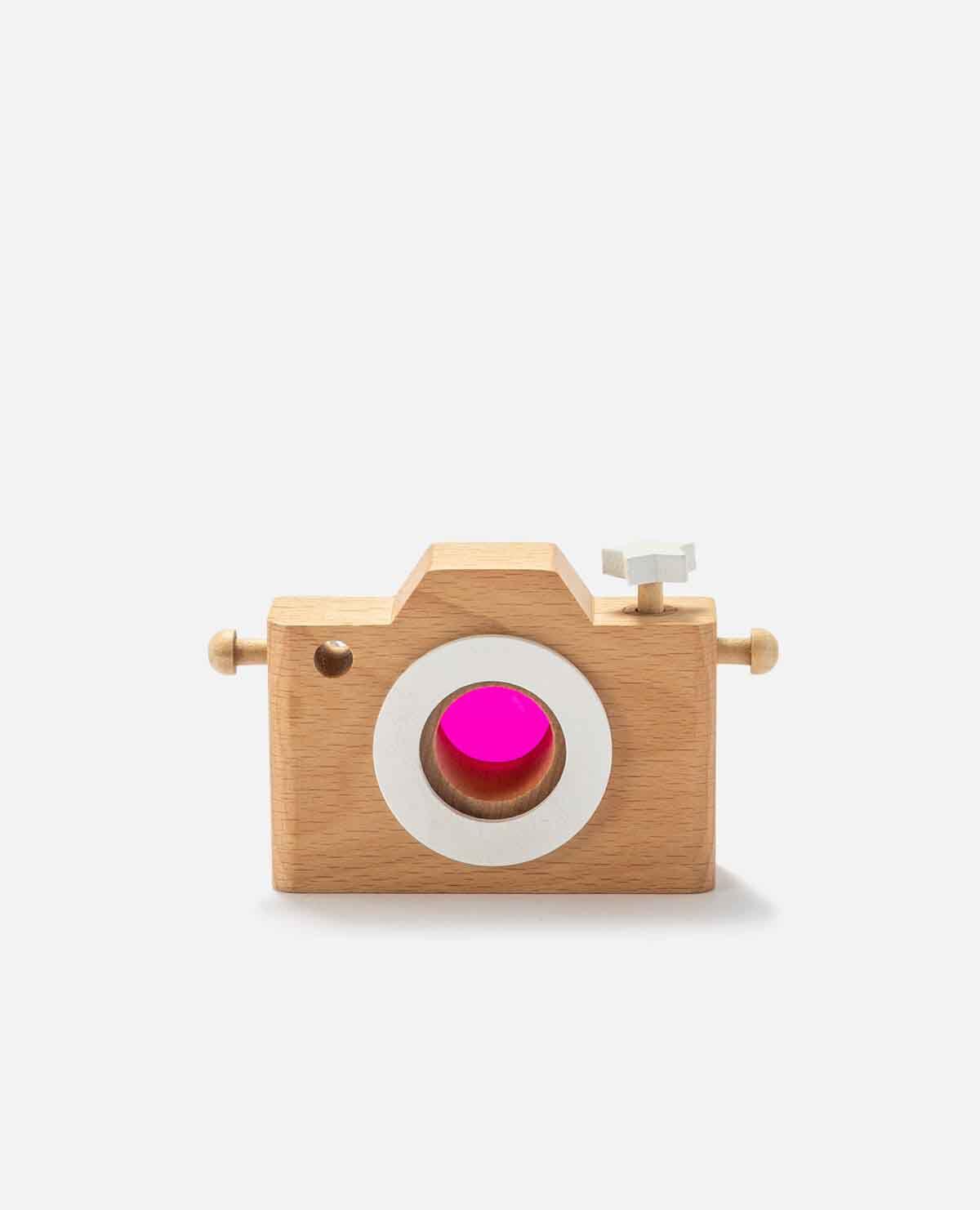 カメラ おもちゃ 玩具 木製 レトロ ピンク