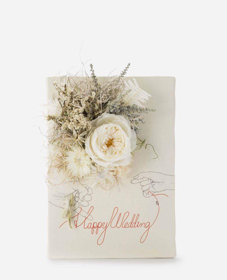 レターフラワー HAPPY WEDDING オールドローズ ホワイト