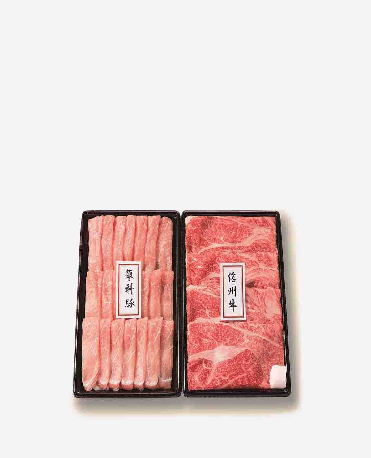 長野県産信州牛・蓼科豚 うす切りセットSTS50